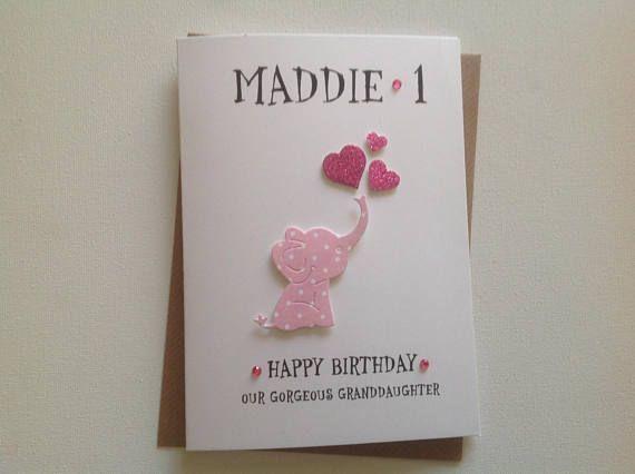 Handmade Personalised 1st Birthday Card Daughter Etsy 1st Birthday Cards Birthday Cards 1st Birthday