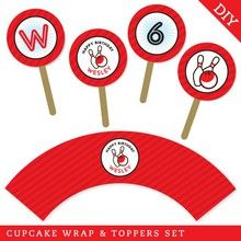 Bowling Party Cupcake Wrapper and Topper Set (Digital File) - Strike up some fun with this awesome bowling party theme!
