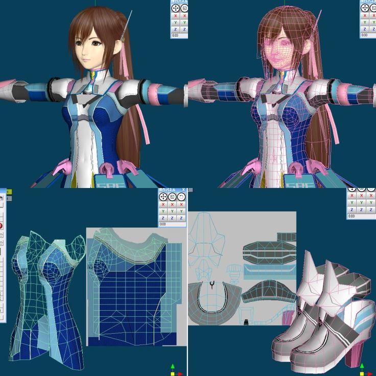 Reimi 3d anime girl topology