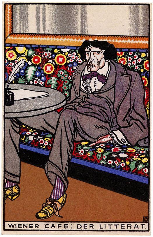 Moriz Jung : Wiener Café, postcard 532 //Twenty Postcards of the Wiener Werkstätte // 50 Watts: