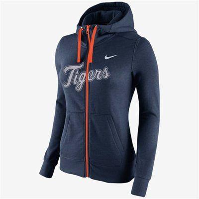 Nike Detroit Tigers Ladies  Blended Full-Zip Hoodie - Navy Blue