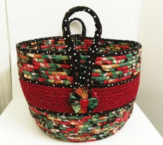 Large Fabric Coiled Basket in Red/Black/