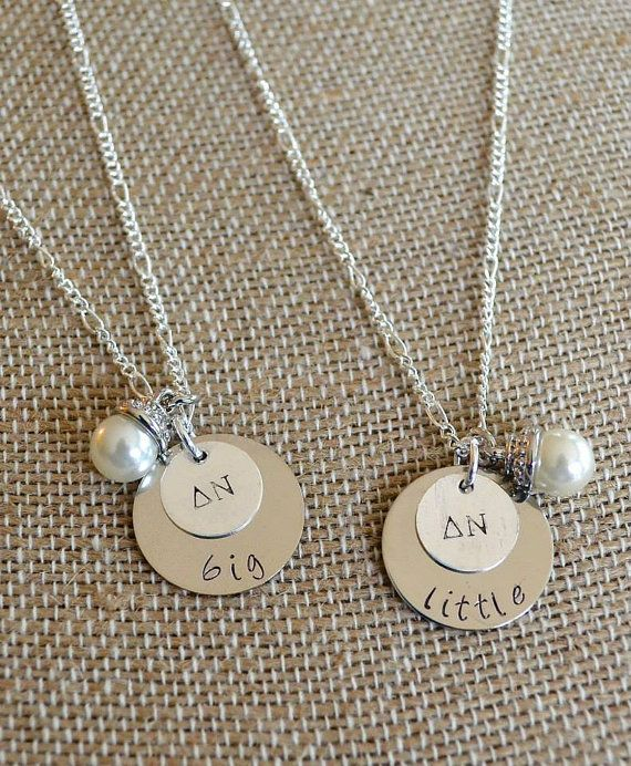 ✢ This sorority Big and Little necklace set is the perfect gift for an initiation or reveal basket! A pearl drop charm is the perfect finishing