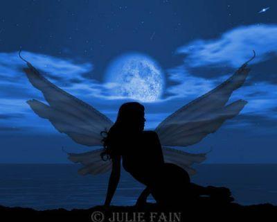 fairy fairies faery faeries fae fantasy moon 'full_moon' silhouettes 'digital_art' photography Fairy Moon ©Julie Fain 21st Century fantasy and fairy silhouette using the skilled mediums of photography and digital manipulationFairy Moon©