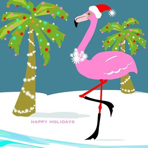 Happy Holidays - Flamingo with Santa hat & boots ...