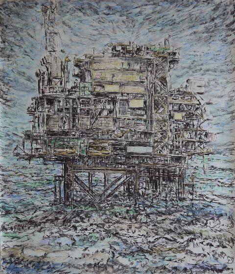 Lies van Dam - Booreiland (2014)- Houtskool, pastelkrijt op papier - 150 x 130 cm