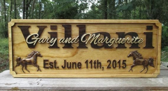 Horse Personalized Family Name Signs by GPandSonWoodcrafting