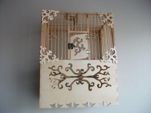 el yapımı ahşap kuş kafesi
