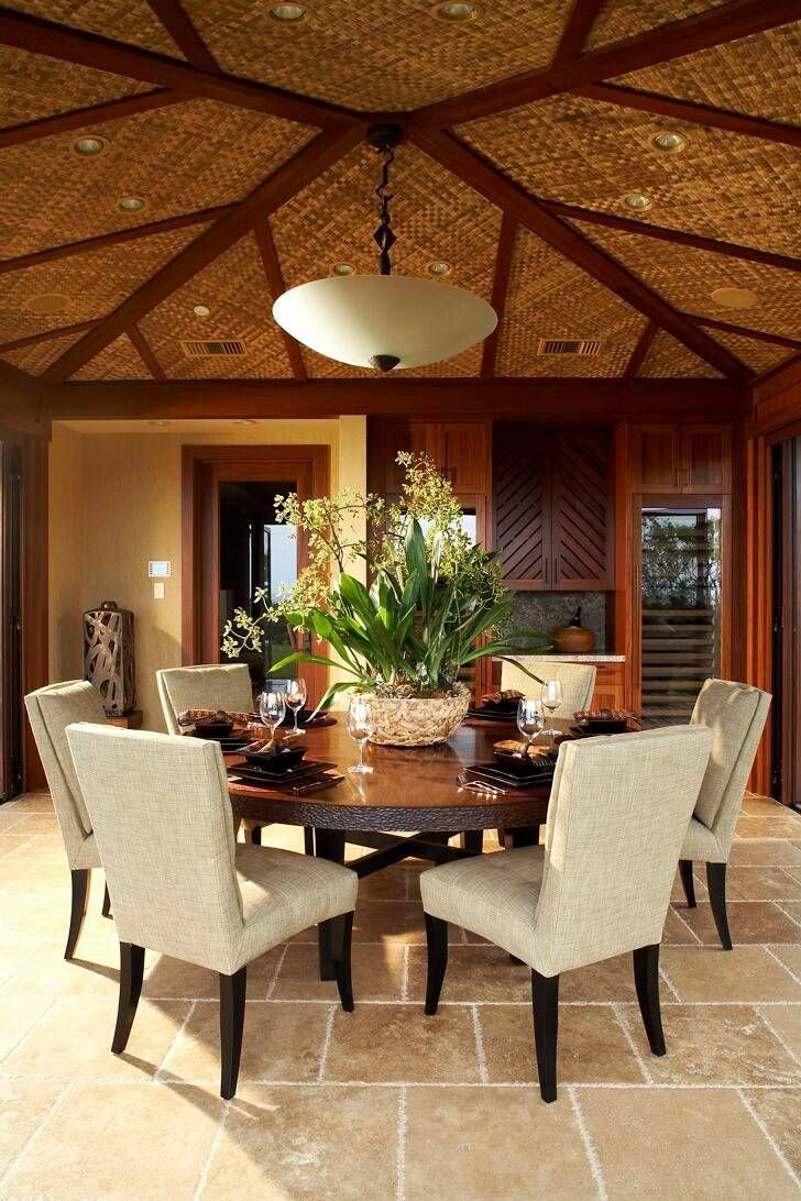 If you can't live in the tropics, you could still decorate like you do.  Tropical dining room by Willman Interiors / Gina Willman, ASID