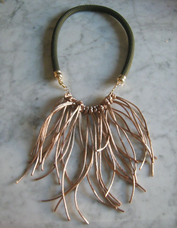 Necklace made from khaki cord and satin