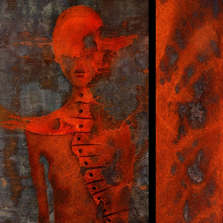There is somehow a strange, and attractive beauty in a decay.The artworks of a series inspired by the rusty metal plate.