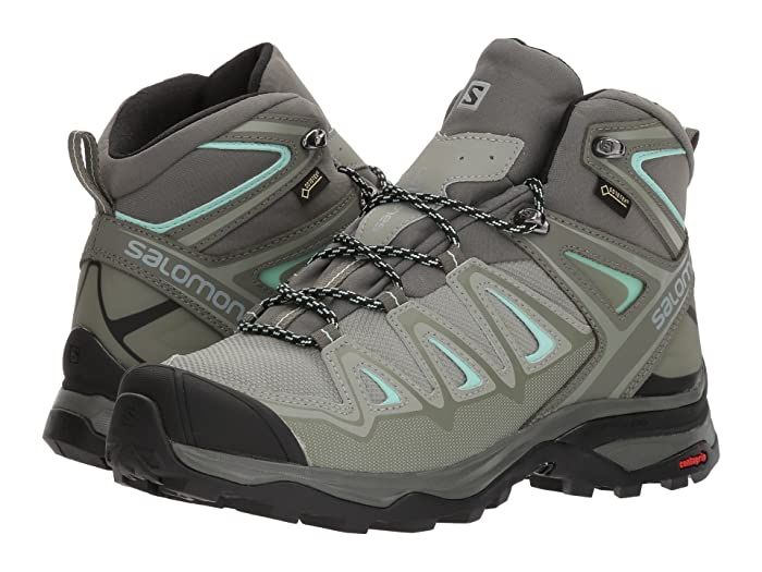 Salomon X Ultra 3 Mid Gtx R Shadow Castor Gray Beach Glass Women S Shoes Lace Into The Salomon X Ultra 3 Mid G In 2020 Womens Sneakers Hiking Boots Work Shoes Women