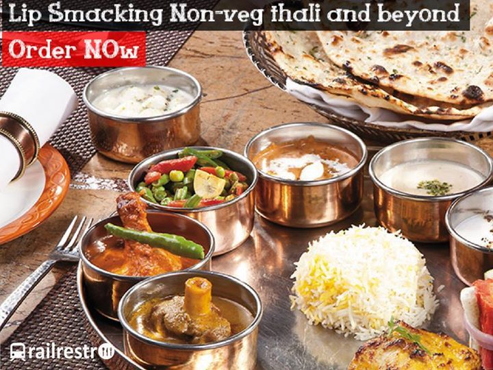 #WedensdayTreat: Order Lip Smacking Non-Veg Food In Train. Special Non-veg thali Ready to order on call from Railrestro at 8102-888-111
