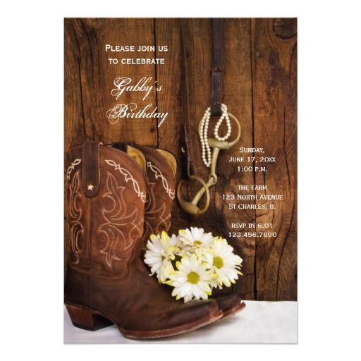 Cowboy Boots and Daisies Country Birthday Party Custom Invitations
