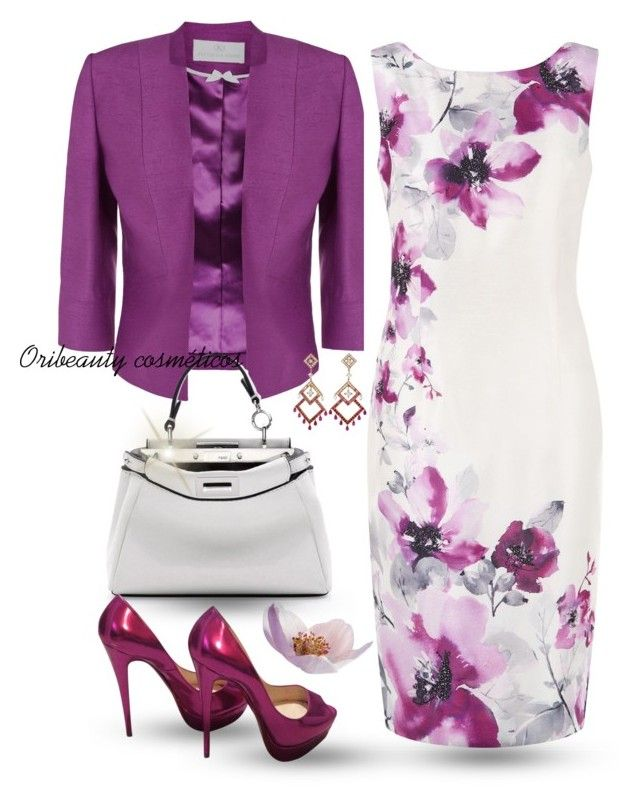 Purple & White by oribeauty-cosmeticos on Polyvore featuring Jacques Vert, Christian Louboutin, Fendi and Boucheron