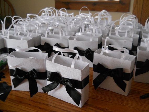 Elegant black and white wedding party favor gift bags by steppnout, $1.50