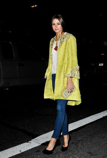: Olivia Palermo showed her support for Marchesa in one of the designer's ornately embellished statement coats.