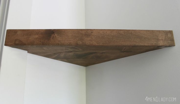 DIY Floating corner wall shelf - stain wood before nailing to wall - for wifi router