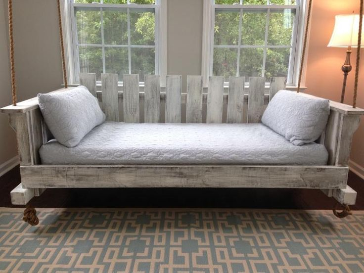 """Porch Swing: The """"Rivertowne"""" Twin-Size Swing Bed w/ Straight Back (Free Shipping) by LowcountrySwingBeds on Etsy"""