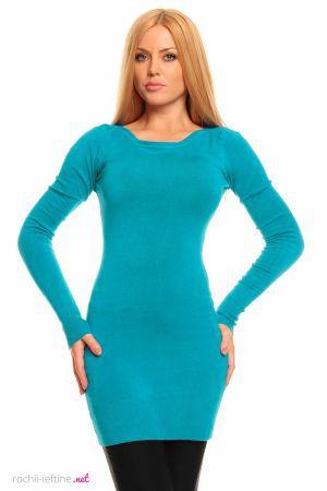 Rochie tricotata de culoare turcoaz - Rochie mini tricotata, de culoare turcoaz. Este decoltata rotund, are maneci lungi si este cambrata pe corp. Colectia Rochii de toamna iarna de la  www.rochii-ieftine.net