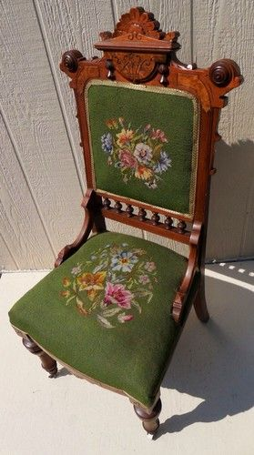 Exquisite Antique Victorian Eastlake Walnut Needlepoint Chair Lovely | eBay