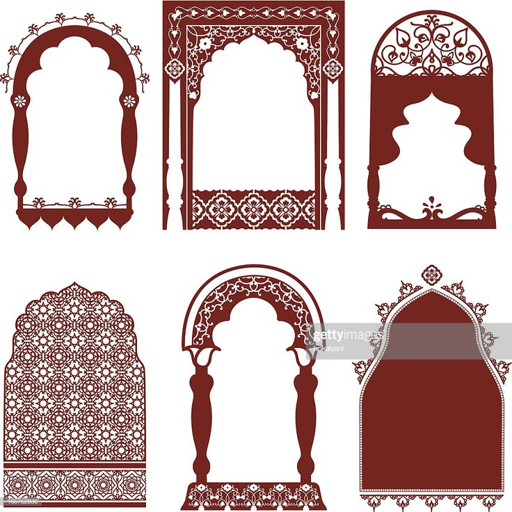 A collection of ornate arched windows featuring carved