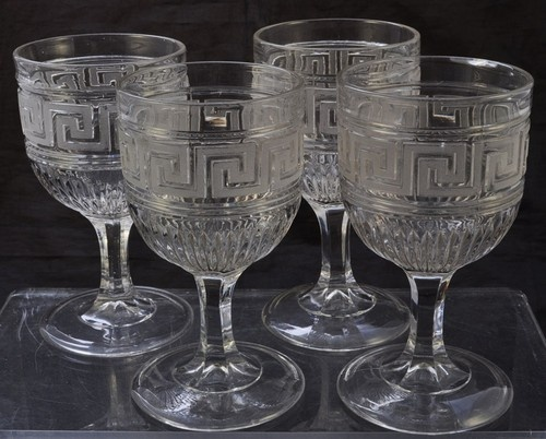 Set of 4 Frosted Roman Greek Key Ribbed Flint Glass ...