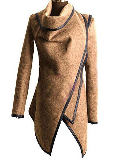 Beige Wool Asymmetric Coat