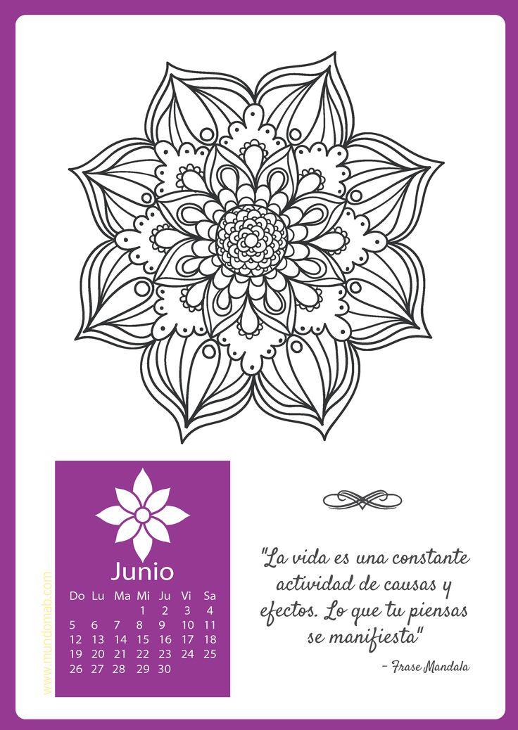 Calendario mandala Junio para imprimir