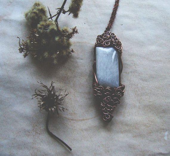 Elvish Moonstone Necklace Bohemian Moonstone Pendant by KicaBijoux