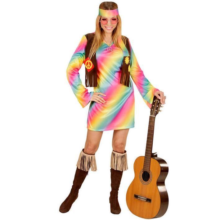 Disfraz de Hippie multicolor para mujer