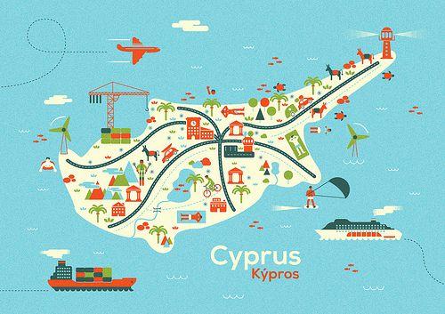 Carte illustrée de l'île de Chypre, dans la mer Méditerranée. Europe.