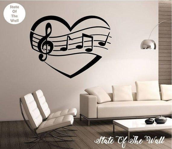 I Heart Music Wall Decal Vinyl Sticker Art Decor Bedroom Design