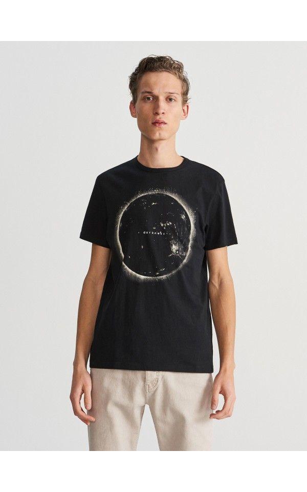 7d393ef62f Nyomott mintás póló, Pólók, galléros pólók, fekete, RESERVED ...