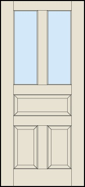 Front door?  Matches the five-panel doors in our house and allows space for a mail slot.  (Or check out the four-panel door without glass.)  Both available in paintable poplar or a variety of stains.