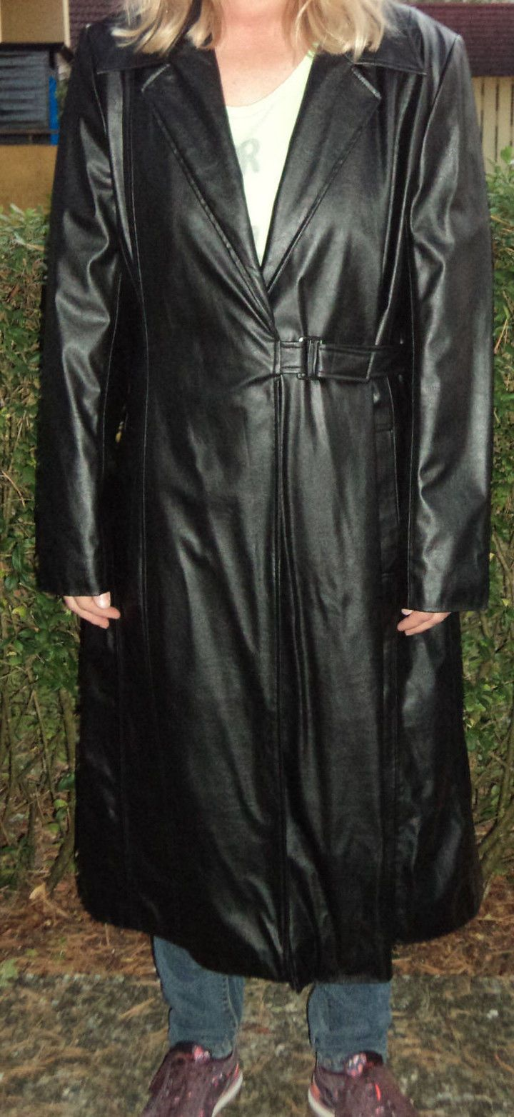 Ledermantel Kunstledermantel lang 42 schwarz   eBay