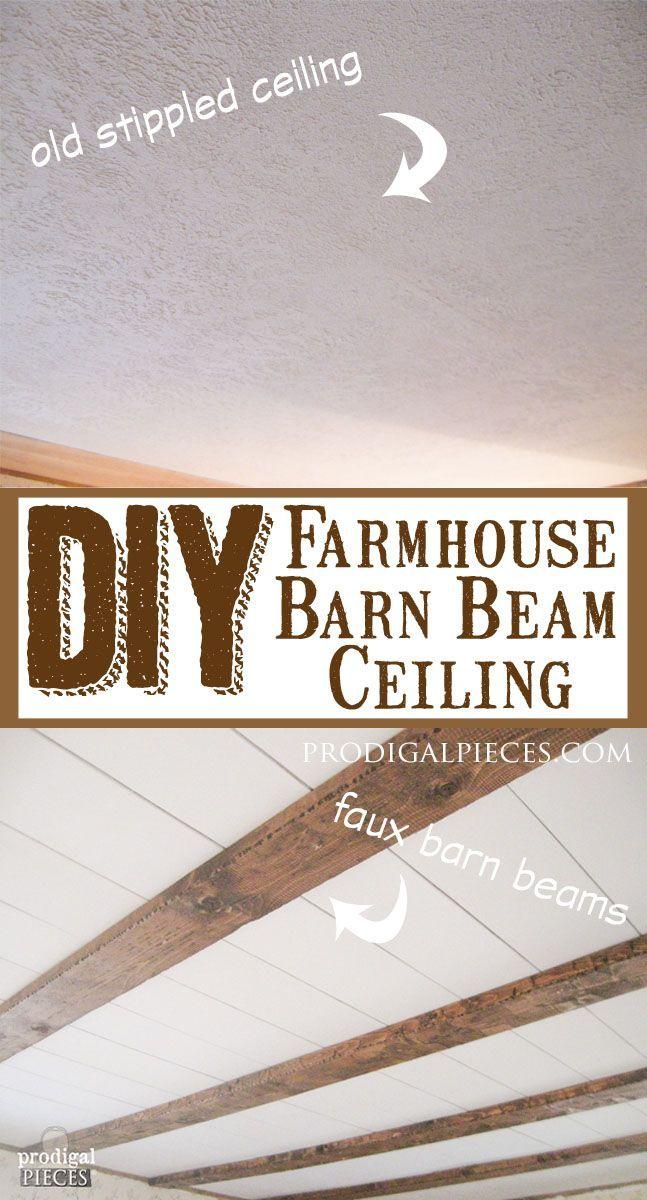 DIY Faux Farmhouse Barn Beam Ceiling by Prodigal Pieces www.prodigalpieces.com #prodigalpieces