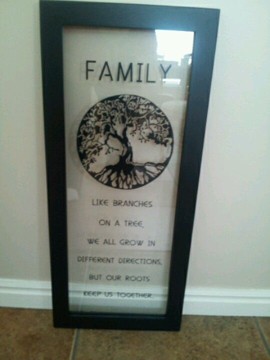 made for moms birthday with adhesive vinyl and put on a floating frame