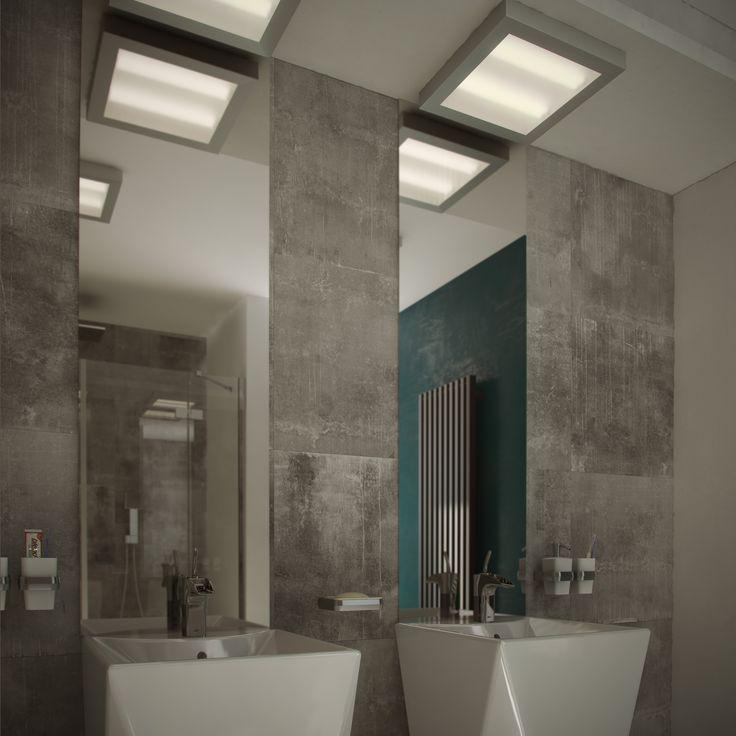 Plafony Aurora Satina. Oświetlenie łazienkowe ze szczotkowanej stali nierdzewnej i wysokiej klasie szczelności IP44.