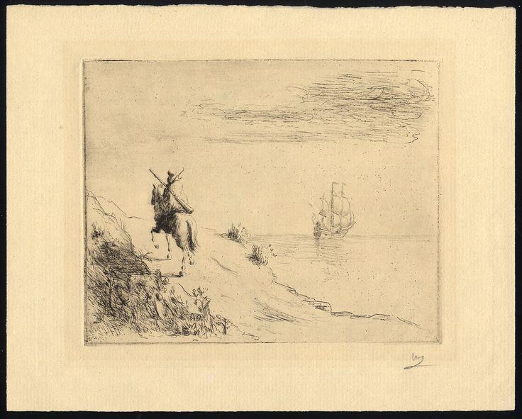 Unidentified etching, man on horseback looking at a ship sailing off toward the horizon.