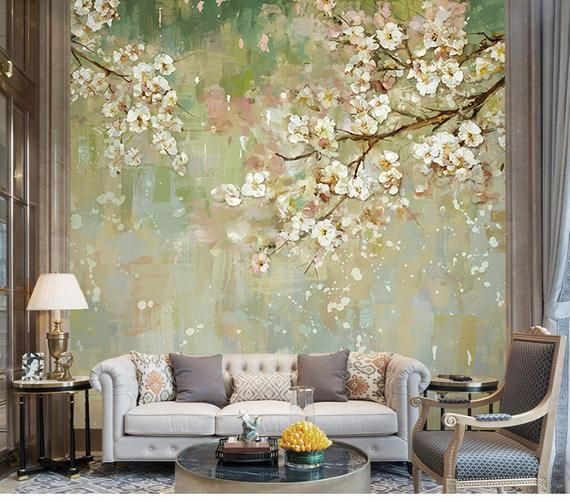 3D Floral Wall Wallpaper, Light Blue Tree Wall Mural, Floral, Wall Art,Wall Decal, Vintage Oil Painting Wall Sticker