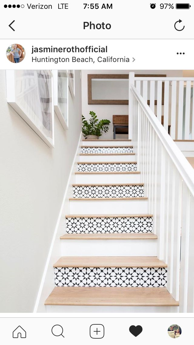 Stenciled stair risers- tie in my backsplash that is the same.