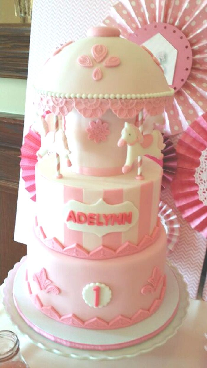 Chic Pink Carousel themed birthday party via Kara's Party Ideas! Full of party ideas, recipes, supplies, tutorials, printables and more! KarasPartyIdeas.com #chicpinkcarouselparty (8)