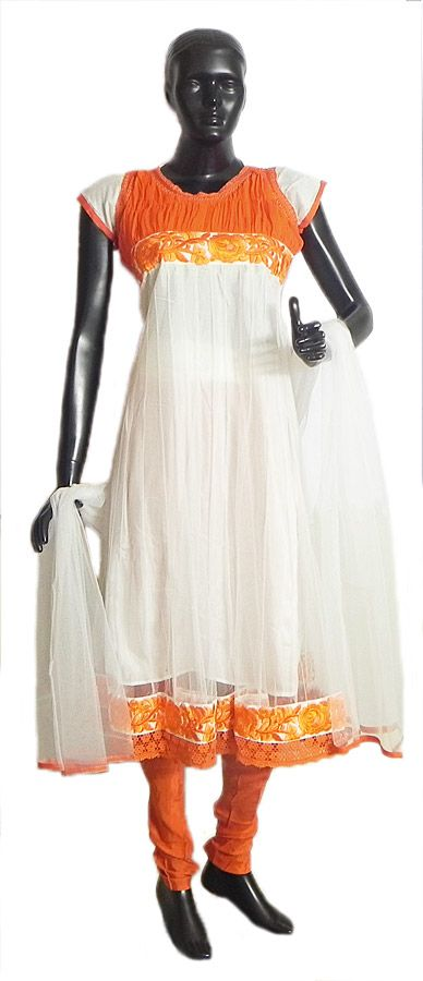 Saffron Parsi Embroidery and Chiffon Neckline on White Net Anarkali Kurta, Saffron Churidar and White Chunni (Net and Chiffon))
