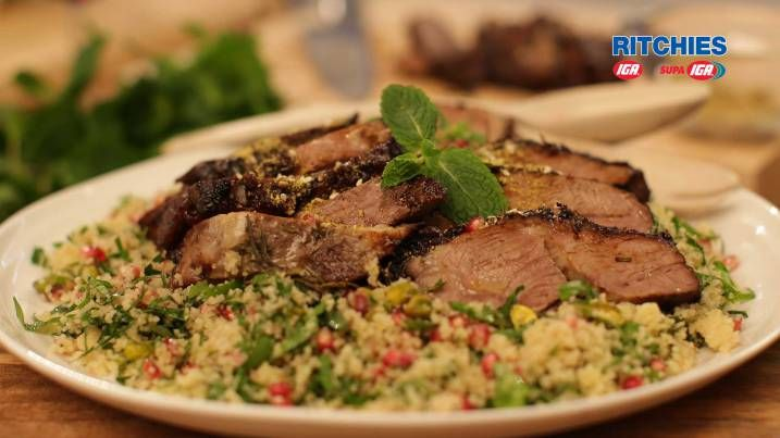 slow cooked Persian lamb roast with pomegranate and couscous salad