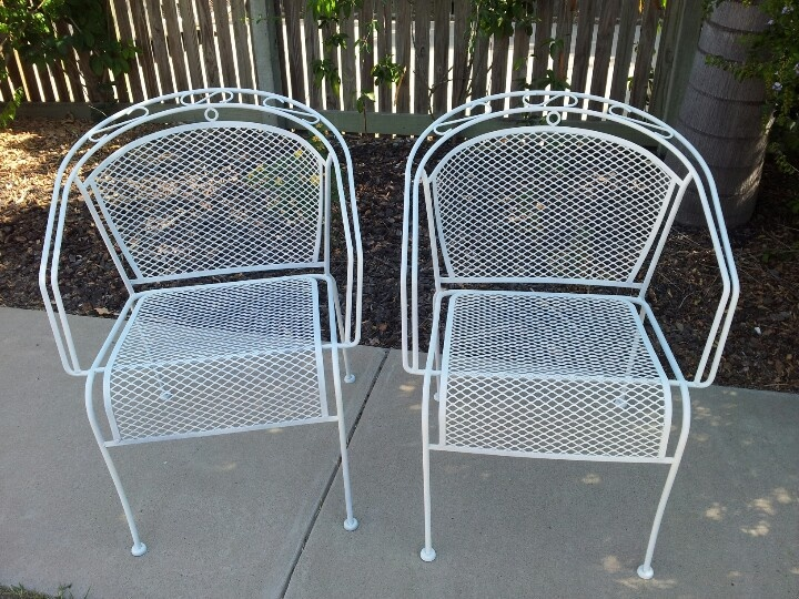 Two mesh chairs rescued from trash get new start