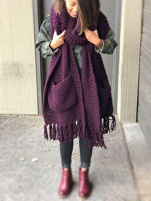 Sidney Artesanato: Moda Inverno....xales, cachecol com bolso | Cachecol de trico feminino, Moda de roupas de outono, Pontos para cachecol de tricô