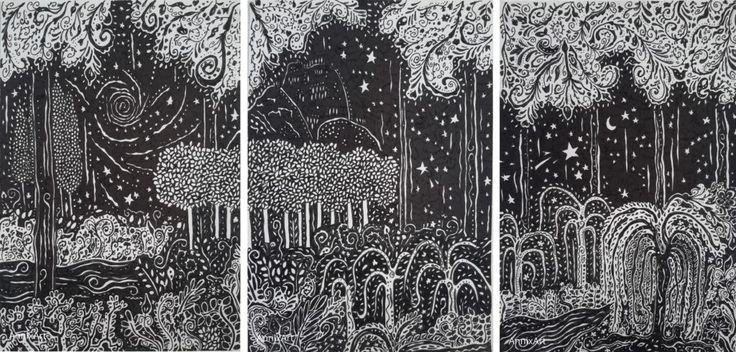 Detailed black and white drawing of trees river and willows. Starry night time forest illustrations. Art by AnnixArt.