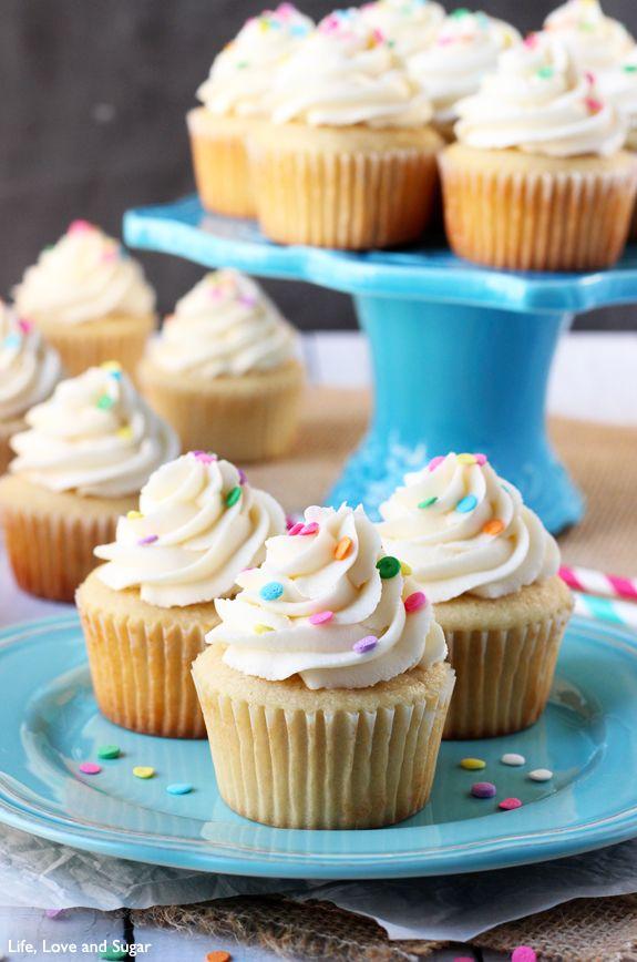 The Perfect Moist Fluffy Vanilla Cupcakes from @Lindsay Dillon Dillon | Life, Love and Sugar
