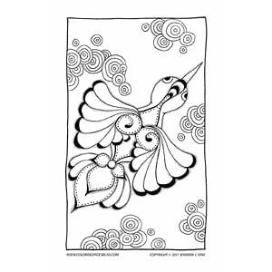 Hummingbird Color Sheet Coloring Pages For Adults By Artist Jennifer StayJennifer
